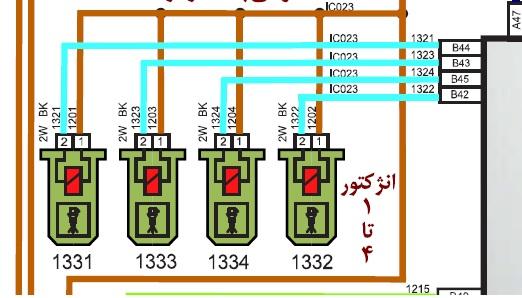 نقشه برق انژکتورهای ایسیو بوش ME17 پژو 207